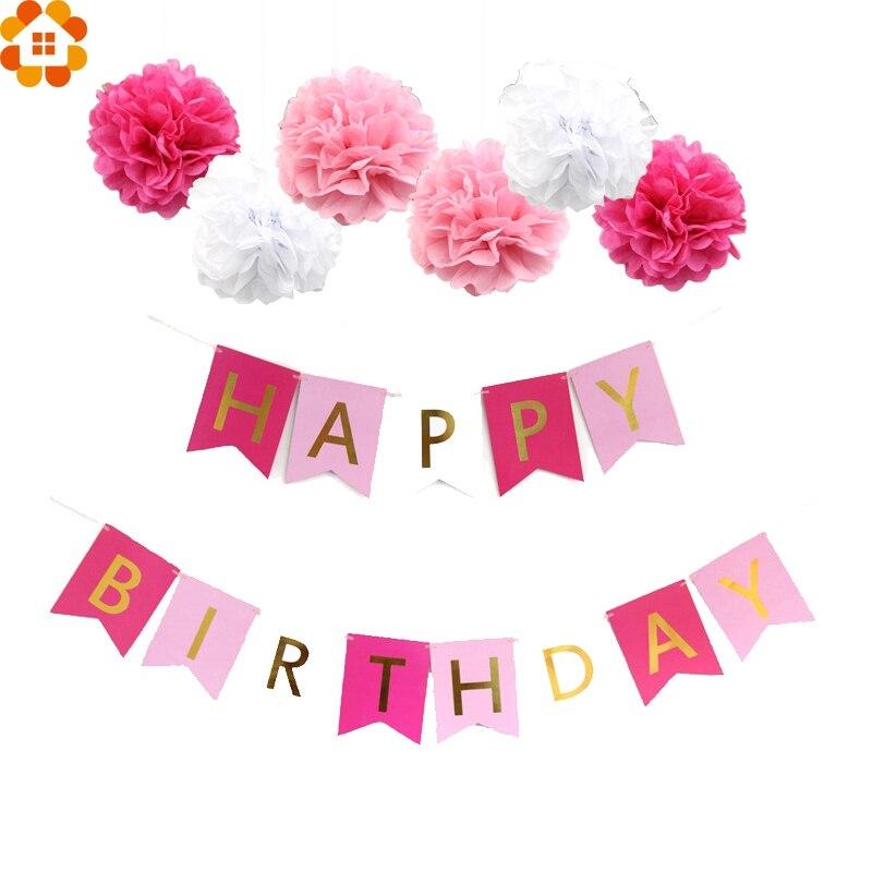 1 Set Pink Style DIY Tissue Paper Pompoms Happy Birthday