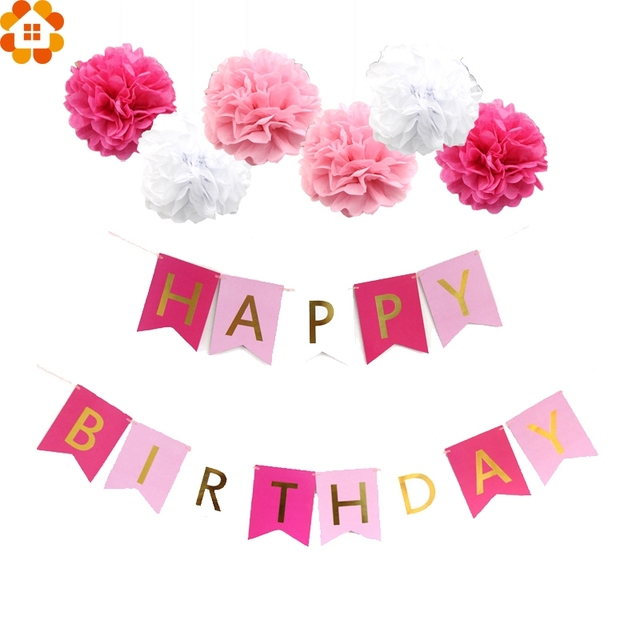 1 set pink style diy tissue paper pompoms happy birthday letter banner for girl birthday party