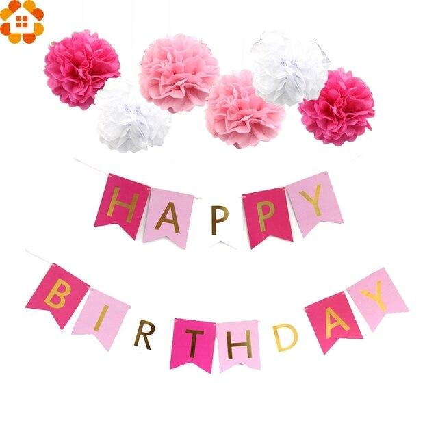 1 Set Pink Style DIY Tissue Paper Pompoms Happy Birthday Letter