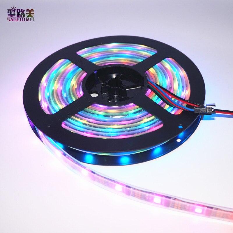 DC5V 5M WS2801 Addressable LED Strip Arduino development ambilight TV 32leds/m 5050 RGB 12mm led Magic Dream Color Rope Light