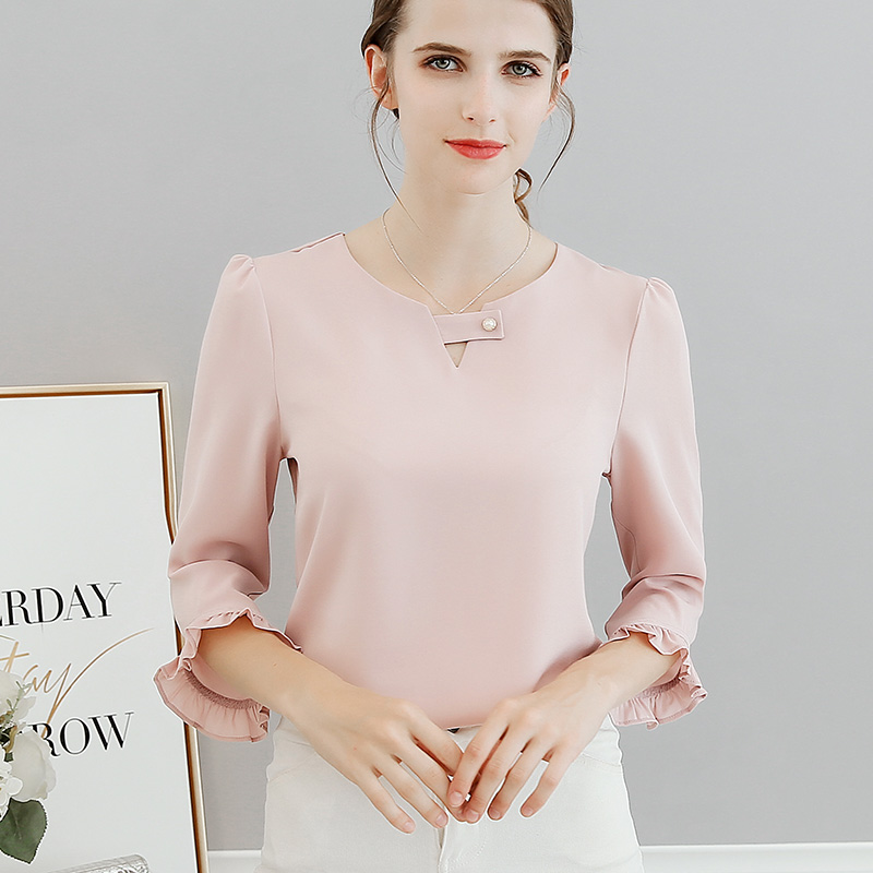new-spring-and-summer-2018-women-ruffles-sleeved-chiffon-blouse-pearl-Korean-fashion-solid-slim-female