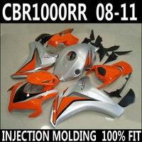Free customize for 08 11 CBR 1000 RR HONDA fairings 2008 2009 2010 2011 cbr1000rr silvery orange black fairing kits GJB94