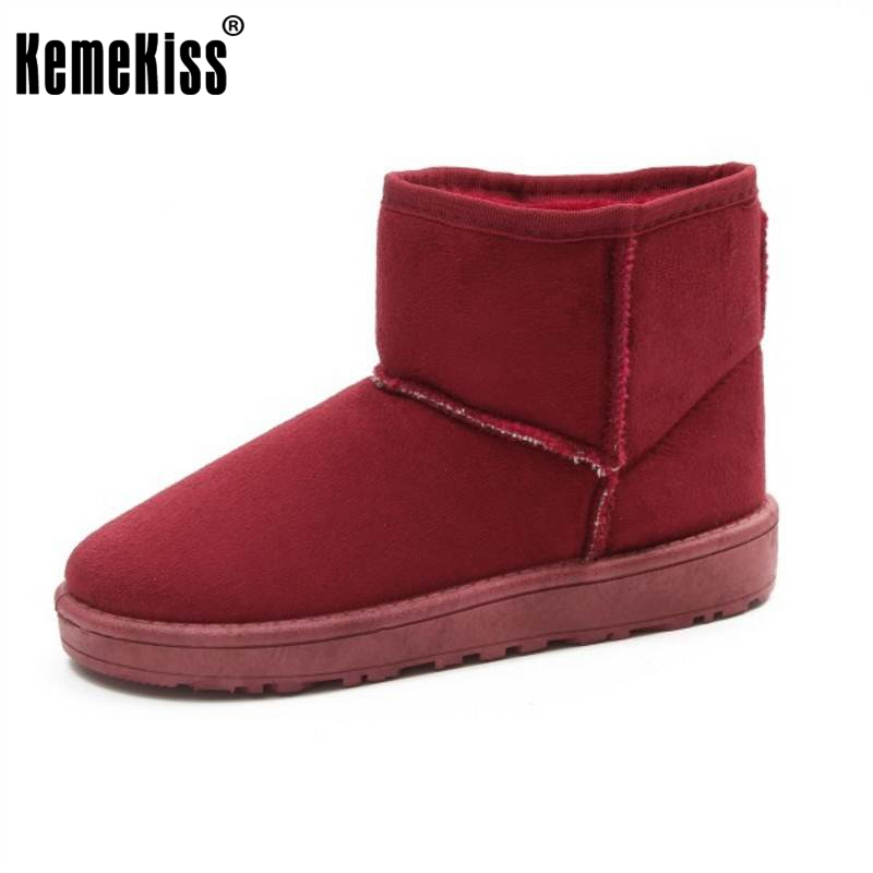 KemeKiss 8 Colors Women Mid Calf Boots Thick Fur Shoes For Cold Witner Half Short Botas Snow Boots Women Footwears Size 36-40 double buckle cross straps mid calf boots