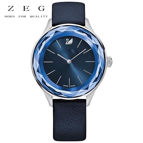 ZEG Alta Qualidade 2018 Latest CRI Originais 1: 1 Nova Pulseira de Couro Relógio Octea Azul Tem Logotipo Mulheres Jóias FreeMail