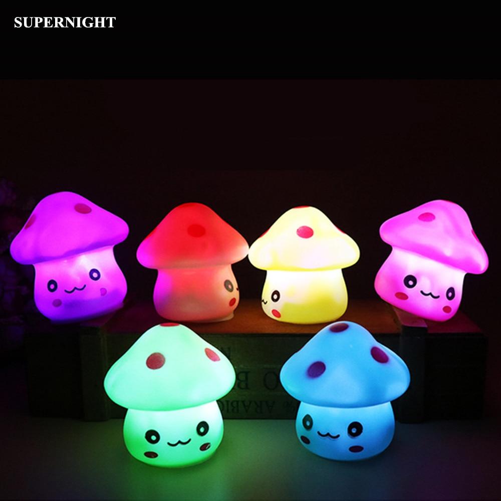 Mignon champignon LED veilleuse colorée changeante décoration de la maison nouveauté éclairage chambre nuit lampe pour enfants enfants bébé cadeau
