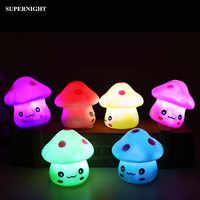 Lindo hongo LED luz de noche colorido cambio decoración del hogar novedad iluminación dormitorio lámpara de noche para niños regalo de bebé