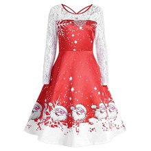 Women s christmas dress Vintage Lace Long Sleeve Print Christmas Party  Swing xmas dress high quality female 54aabb77a9be