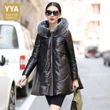 2020 Loose Womens Sheepskins Coat Cap Coat Female Womens Winter Down Jackets Genuine Leather Jacket Ladies Coats Plus Size M 4XL