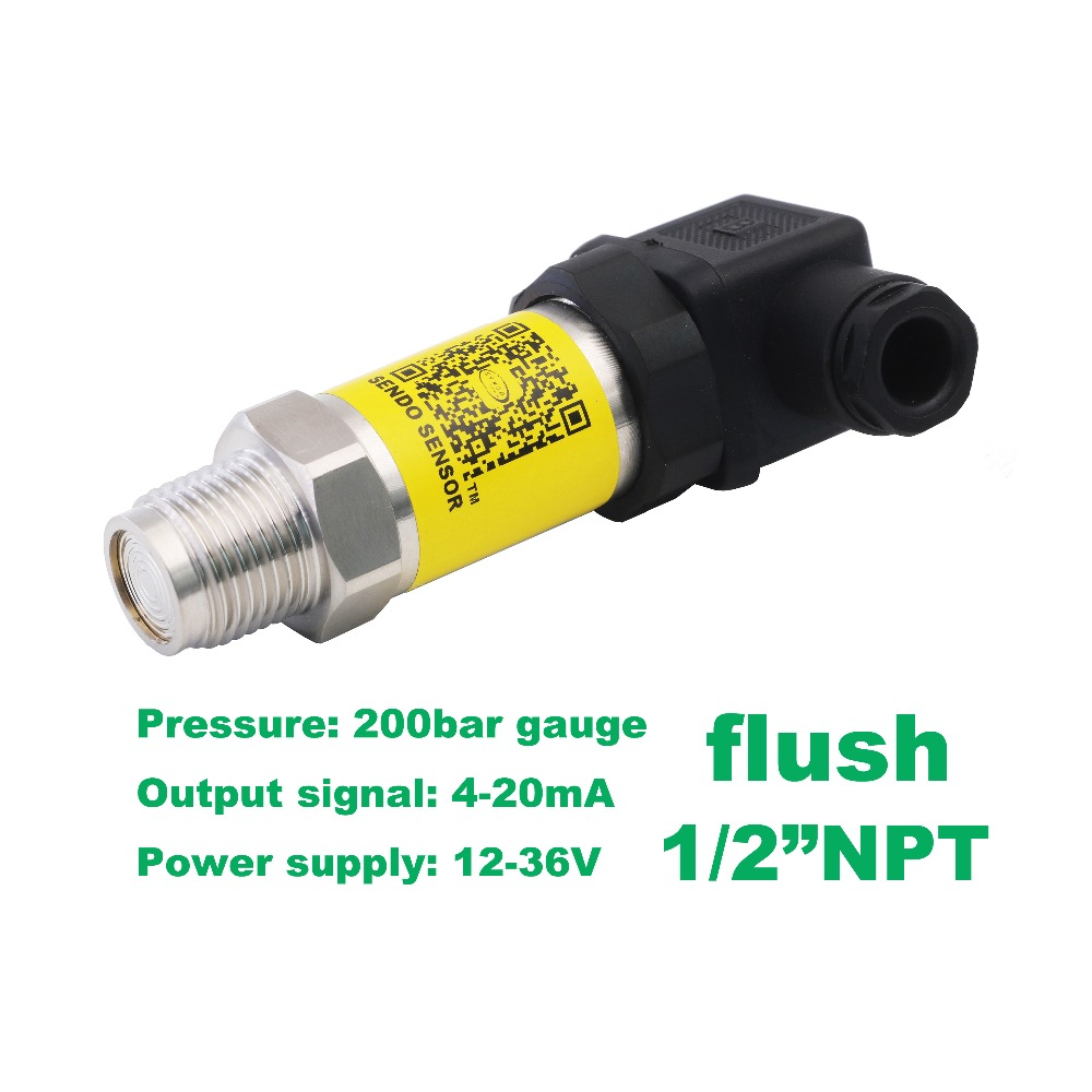 transmitter pressure sensor 4-20mA, 12-36Vdc, 0 20Mpa 200bar, 1/2 NPT thread, stainless steel 316L flush diaphragm, oil filling flush pressure sensor 4 20ma 12 36v supply 20mpa 200bar gauge 1 2 npt flush 0 5% accuracy stainless steel 316l wetted parts