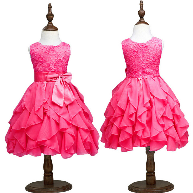 2016 Baby Girl Party Wear Dresses Vest Infant Party Dress Flower ...