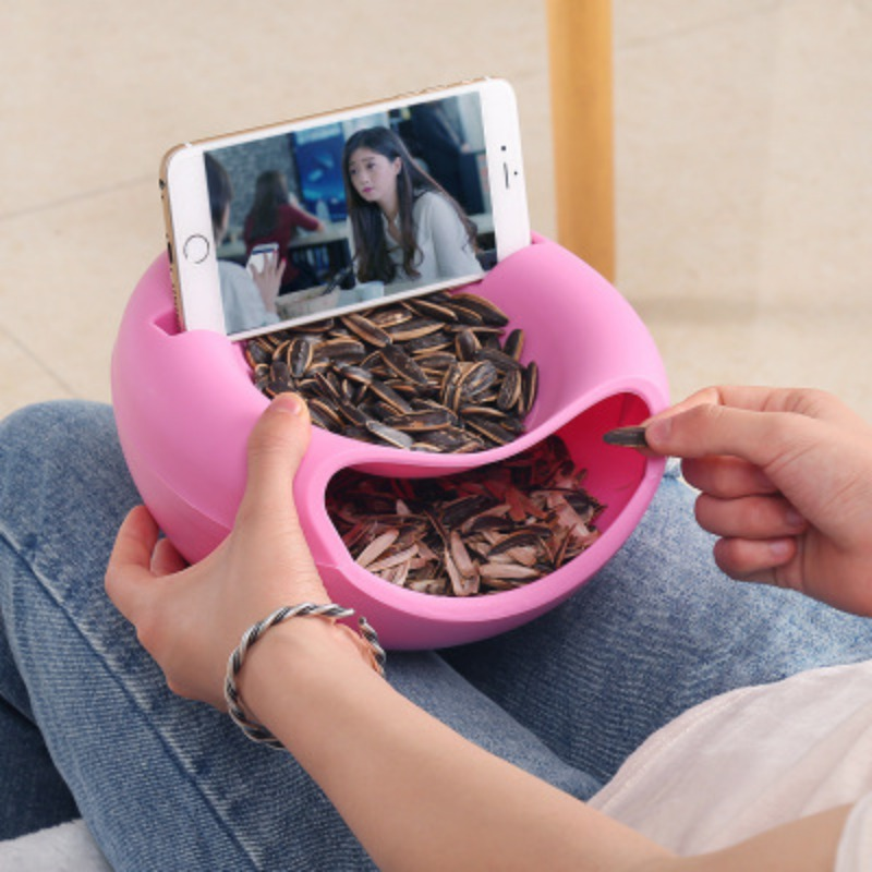 Skin-Storage-Box Fruit-Box Melon-Seeds Candy Double-Candy-Dish Round With Phone-Holder