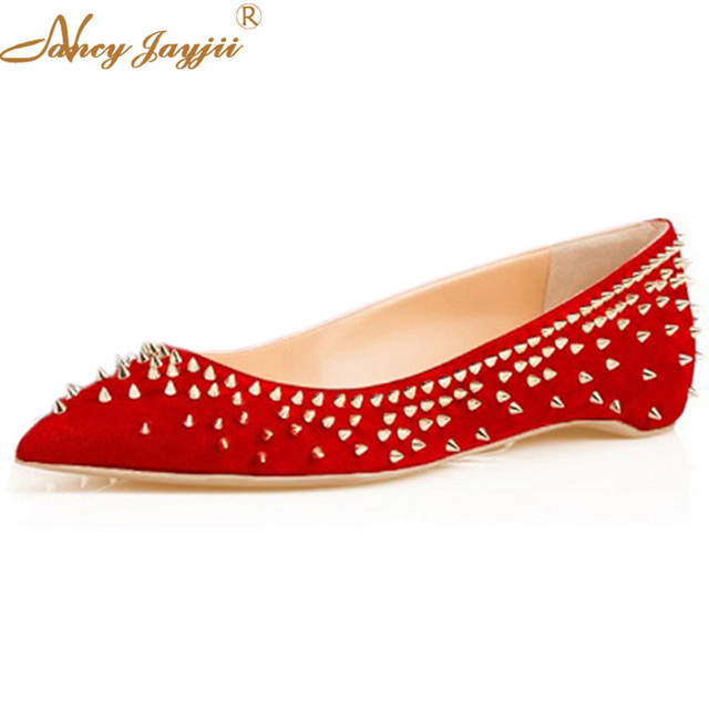 93f504a44cb Luxury Black Red Rivets Ballet Flats Women Female Shoes Pointed Toe Sexy  Casual Dress Party Protective Flock Size 45 46 Spring