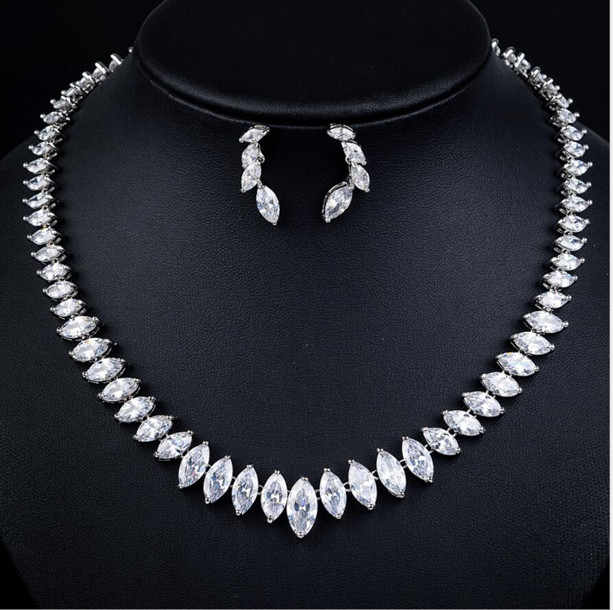 Luxury Classic Marquise shape AAA+ CZ stone Vintage Necklace Earrings Jewelry Sst Wedding Bridal Dress AccessoriesB187
