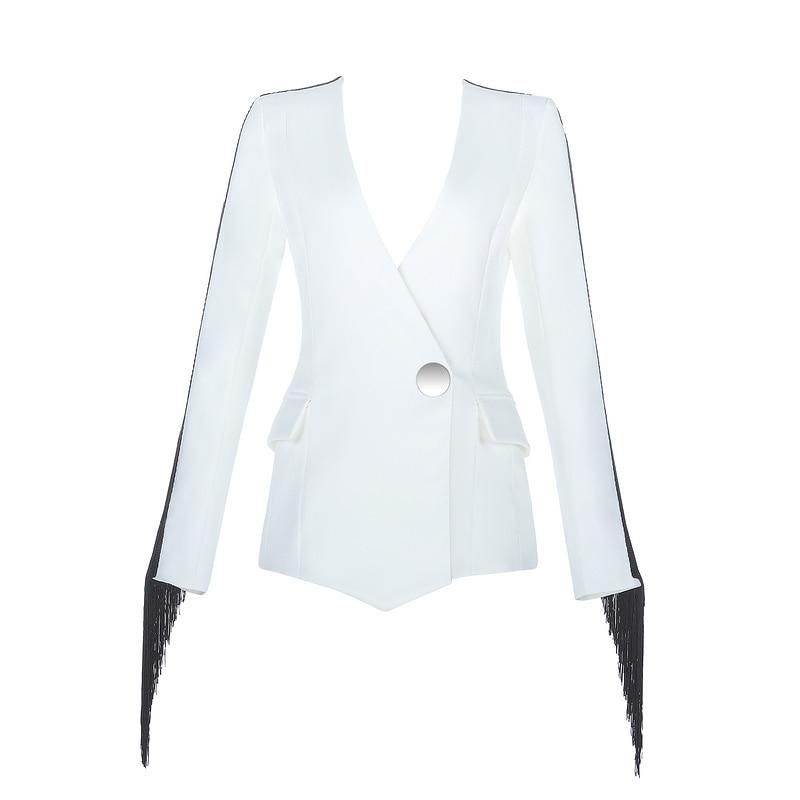 Mode Neue Blazer Jacke Single Tasche White Quaste Büro Dame Schwarz Sexy Button Frauen Weiß V ausschnitt Gosexy 2019 Langarm Anzug QroeWCBdxE