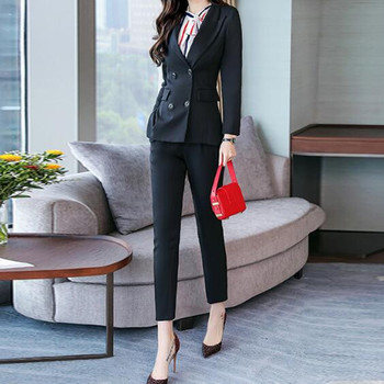 Customized new fashion women's women's wild double-breasted slim suit two-piece suit (jacket + pants) women's business suits