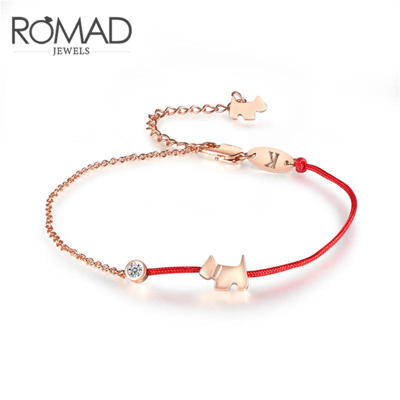 ROMAD Animal Red Rope <font><b>Bracelet</b></font> Chain for Women Men Stainless Steel <font><b>Dog</b></font> Pendants <font><b>Bracelet</b></font> Charm Fashion Jewelry pulseras mujer R4 image
