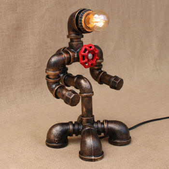 Art deco black workroom table lamp e27 vintage retro robot desk light sconce for study bedroom bedside workshop office