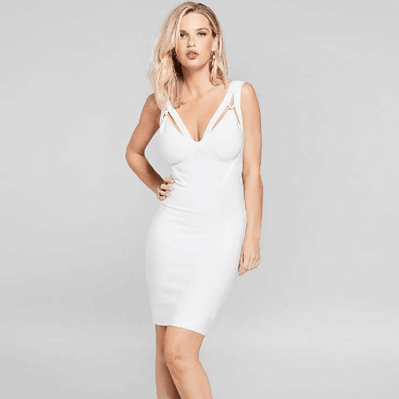 Summer <font><b>Fashion</b></font> Cut Out <font><b>White</b></font> Bandage <font><b>Dress</b></font> <font><b>2018</b></font> <font><b>New</b></font> <font><b>Women</b></font> Spaghetti Strap V Neck <font><b>Backless</b></font> Party <font><b>Dresses</b></font> Vestidos Dropshipping image