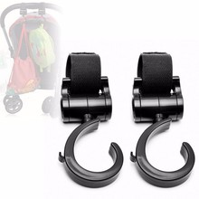 2Pcs Multi Purpose Velcro Baby Pram Stroller Pushchair Swivel Hanger Hooks Carriage Storage Bag TC02