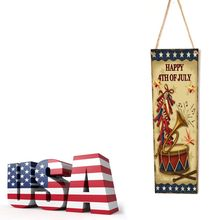 Rustic Wooden Happy 4th Of July Horn Sign Plaque Independence Day Collection Gift Home Decoration цены