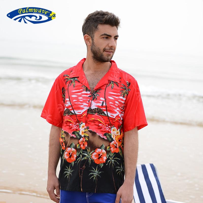 2016 Summer Brand New Men s Hawaiian Beach Shirt Men Short Sleeve Casual Cotton Hawaii Floral