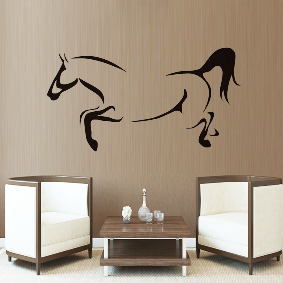 Line Drawing Animal Outline Horse Diy Wall Stickers For