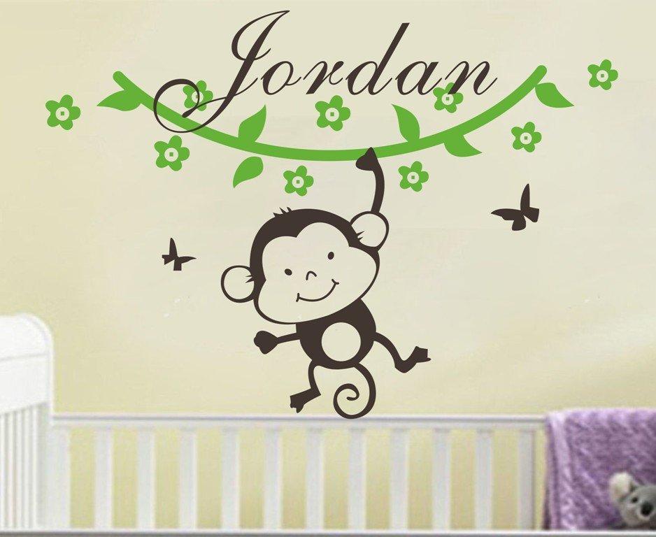 Us 6 97 25 Off Personalised Name Wall Vinyl Sticker Monkey Vine Decor Bedroom Baby Boy Nursery Decals Cute Pattern Wallpaper Za049 In