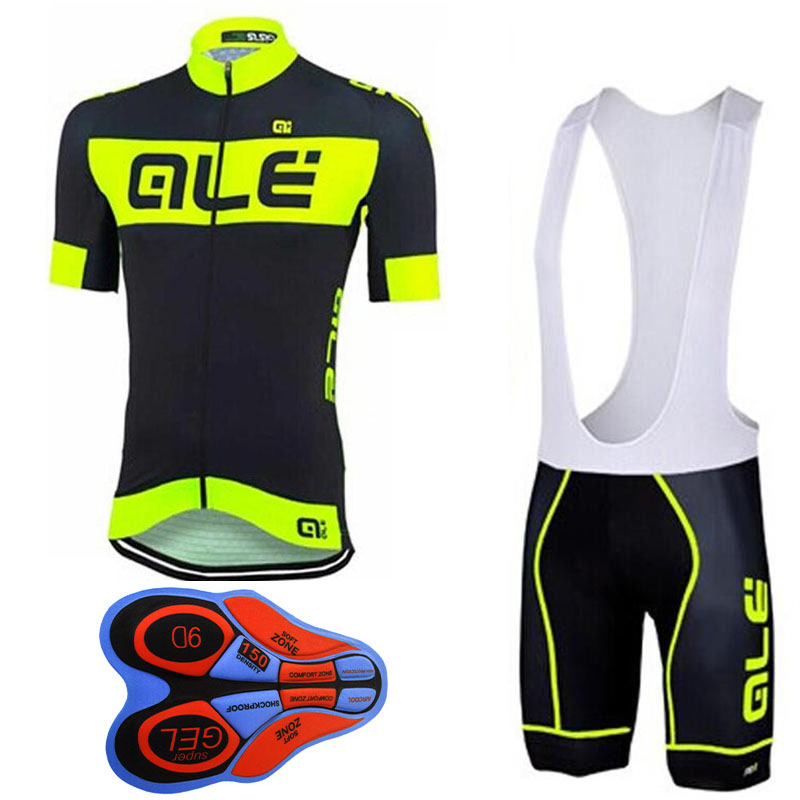2017 Pro Team ALE Fluor Cycling Jersey short sleeve shirts bib Shorts 9D GEL PAD set Ropa Ciclismo Bicycle Bike Clothing