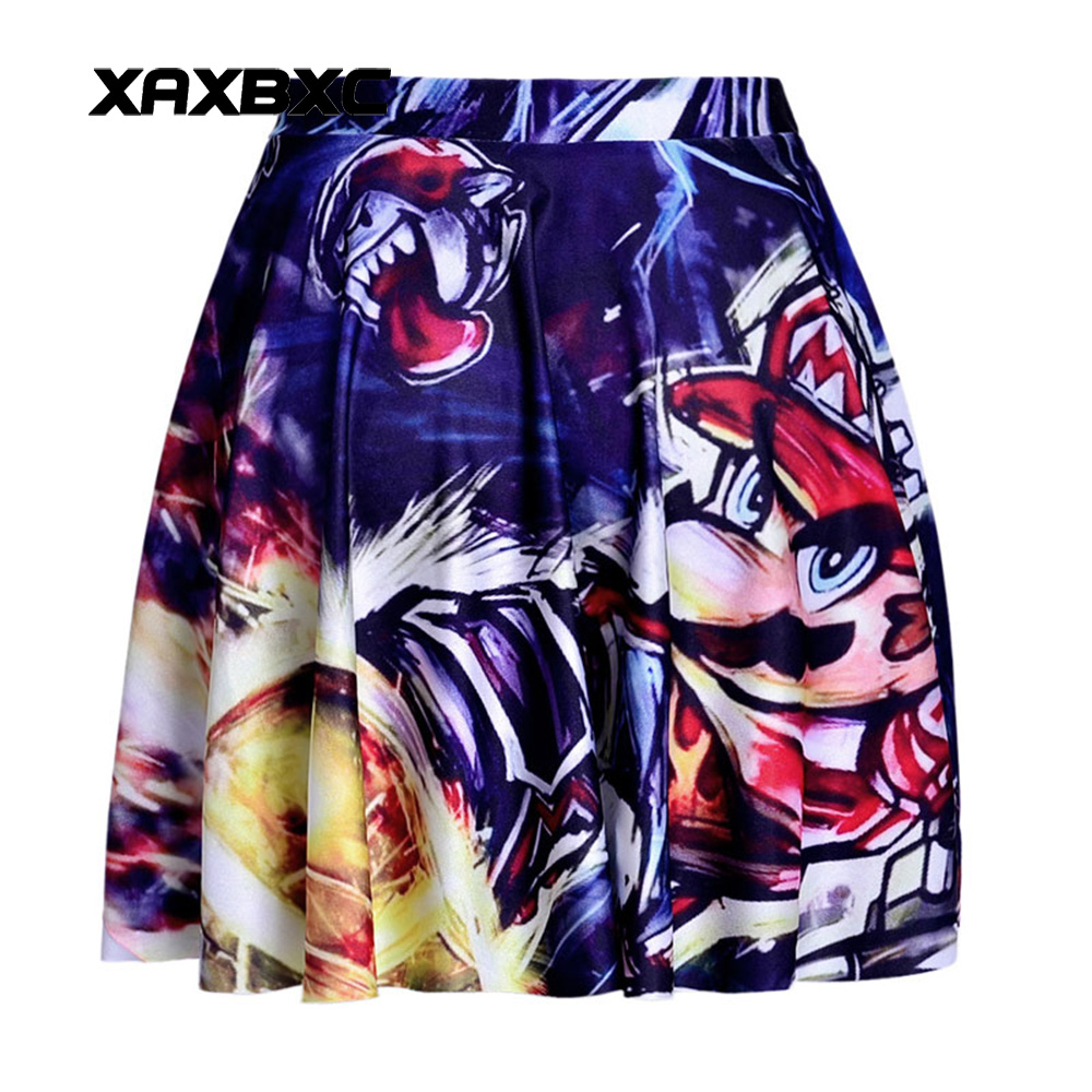 NEW 1096 Summer Sexy Girl Super Mario Bros Grimace Printed Cheering Squad Tutu Skater Women Mini Pleated Skirt Plus Size