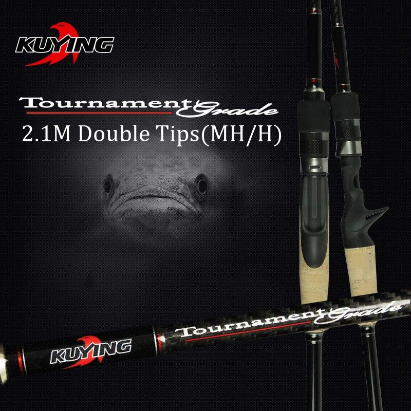 KUYING 2.1 m Torneo Doppie Punte MH H Duro Casting Spinning Con Esche Artificiali Canna Da Pesca In Fibra di Carbonio Canna Pole Bastone Medio veloce 7-28g