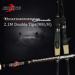 Image 1 - KUYING 2.1Mการแข่งขันคู่เคล็ดลับMH H Hard Casting Spinning Lure Fishing Rodคาร์บอนไฟเบอร์Cane Pole Stick Medium fast 7 28G