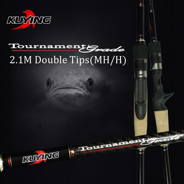 KUYING 2.1Mการแข่งขันคู่เคล็ดลับMH H Hard Casting Spinning Lure Fishing Rodคาร์บอนไฟเบอร์Cane Pole Stick Medium fast 7 28G