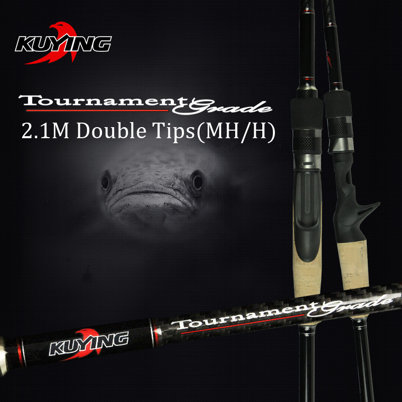 KUYING 2.1M Turnering Dobbelt Tips MH H Hård Casting Spinning Lure Fishing Rod Carbon Fiber Cane Pole Stick Medium Hurtig 7-28g