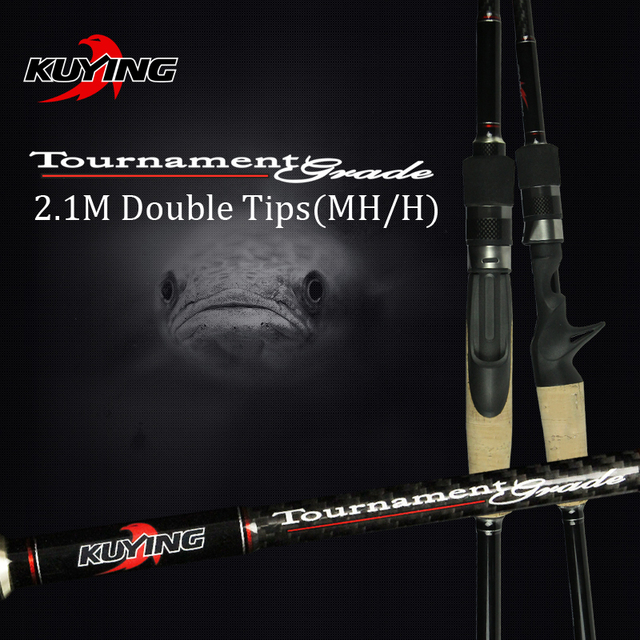 KUYING 2.1M Tournament Double Tips MH H Hard Casting Spinning Lure Fishing Rod Carbon Fiber Cane Pole Stick Medium Fast 7-28g