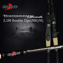 KUYING 2.1m Tournament Double Tips MH H Hard Casting Spinning Lure Fishing Rod Carbon Fiber Cane Pole Stick Medium Fast 7 28g
