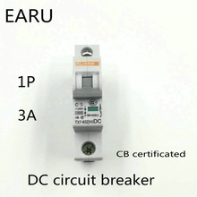1P 3A DC 250V DC Circuit Breaker MCB for PV Solar Energy Photovoltaic System Battery C curve CB Certificated Din Rail Mounted