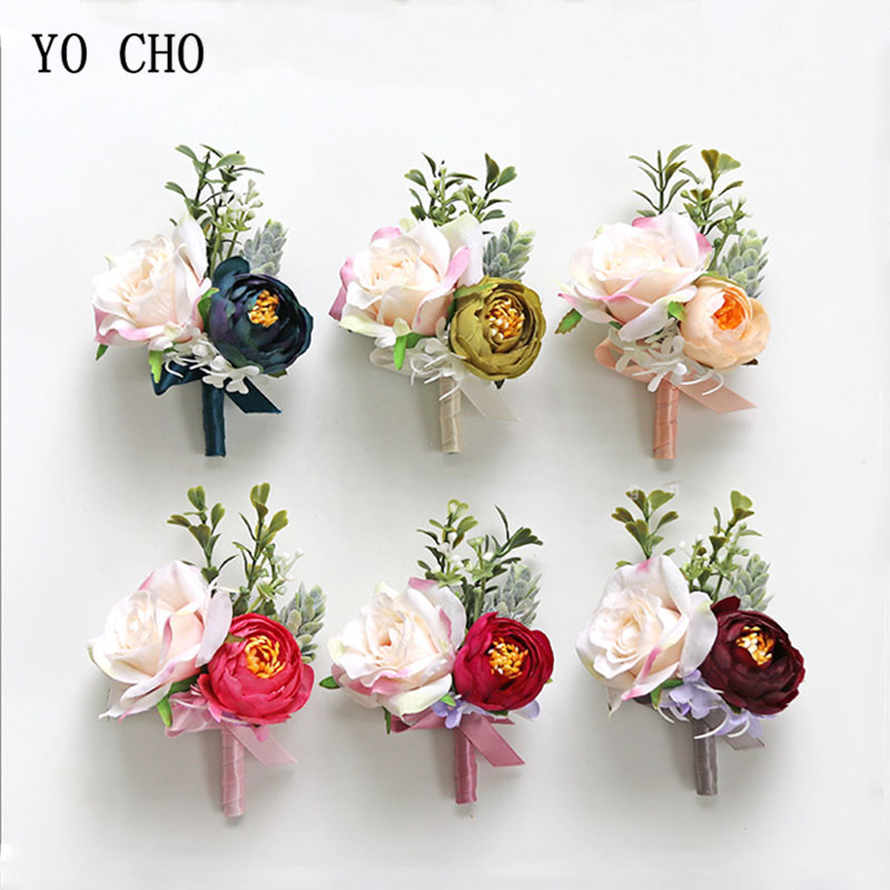 YO CHO Wedding Boutonniere Blue Flower Corsages Silk Roses <font><b>Marriage</b></font> Corsage Boutonnieres Groom Guests Brooch Wedding Accessories image