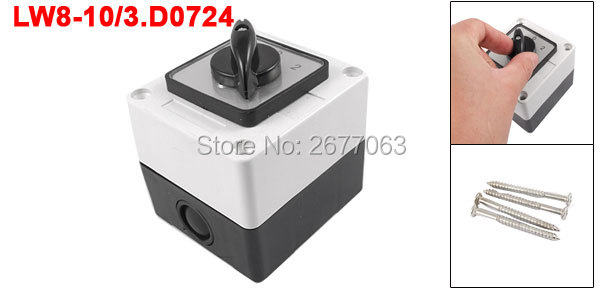 Ui 440V Ith 10A Rotary Knob 3 Positions Changeover Cam Switch Station ui 660v ith 160a on off on 3 positions rotary cam changeover switch lw28 160 3