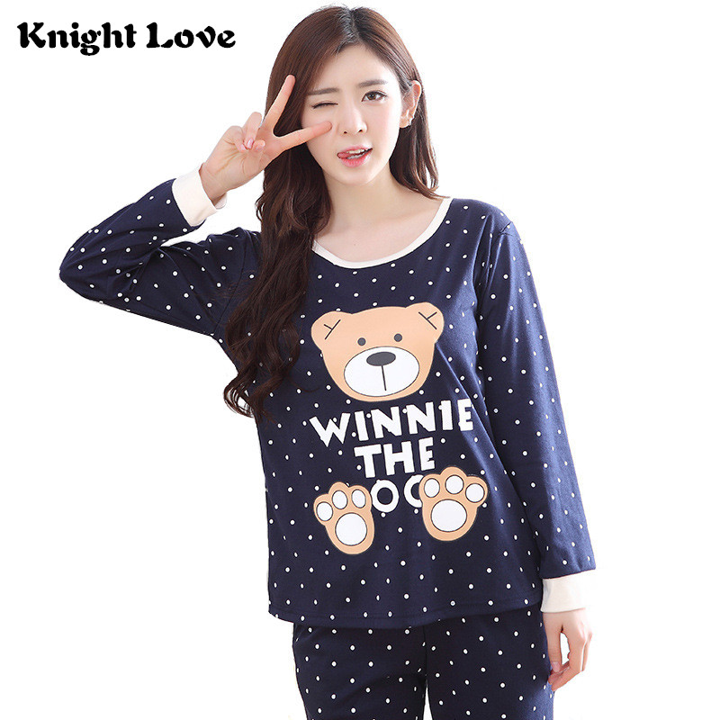 Hot Thin Women   Pajamas     Set   Spring Autumn Round Neck Ladies Cute Cartoon Printed Long Sleeve Sleepwear Homewear Female Pyjamas