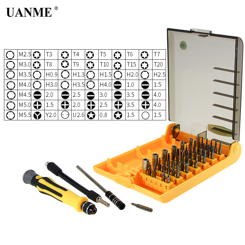 UANME Professional Home Repair Kit Repair Hand Tools 45 in 1 for Mobile Phone Computer Electronic Model DIY UD4501-A