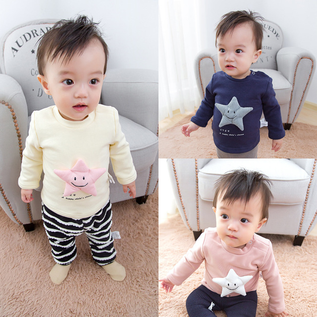 Newborn Baby winter blouse O-neck hoodies star decoration girls tops boys teen shirts blouse of autumn girl clothing solid shirt