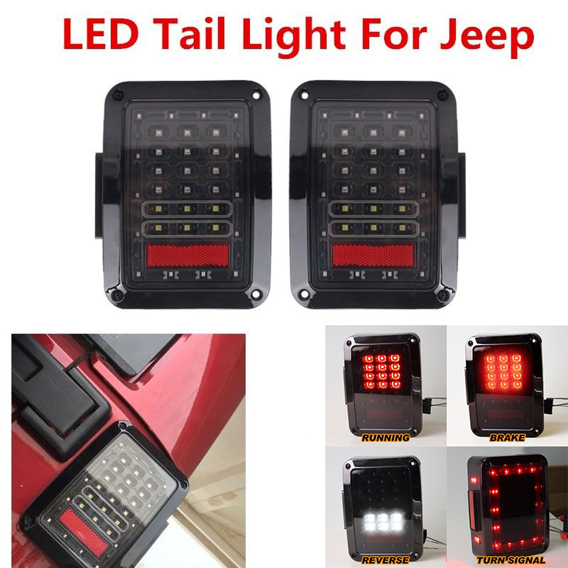 For JK 2007-2015 Jeep Wrangler led tail lights with Running Brake Backup Reverse Turning Signal light Tail lamp Assembly left hand a pillar swith panel pod kit with 4 led switch for jeep wrangler 2007 2015