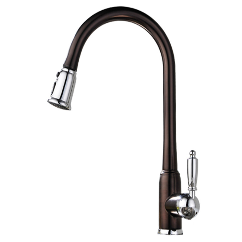 2017 Wholesale Polished Copper Water Saver Filter Swivel Antique Brown Gooseneck Mixer Tap Old Style Pullout