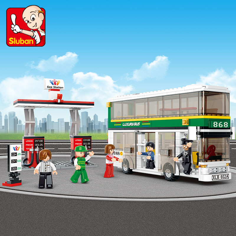Sluban model building kits compatible with lego city bus 586 3D blocks Educational model & building toys hobbies for children loz mini diamond block world famous architecture financial center swfc shangha china city nanoblock model brick educational toys