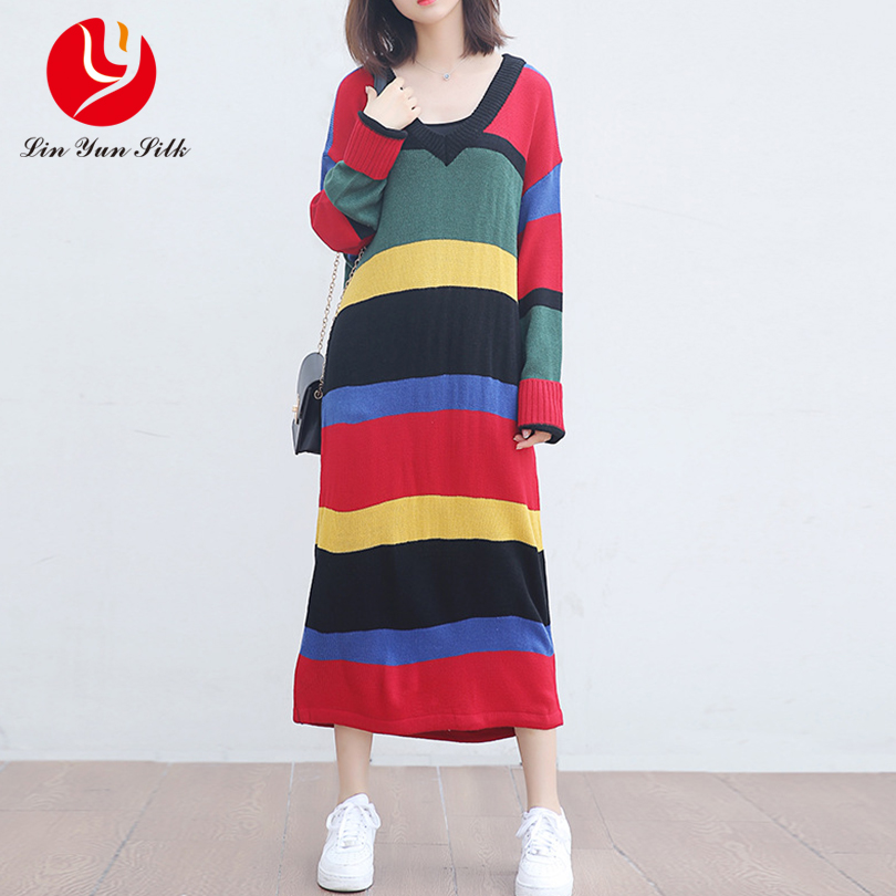 2017 new autumn and winter plus size sweater dress women's large size long-sleeved sweater loose long striped knitted dress free people new purple women s size large l surplice popover sweater dress $128