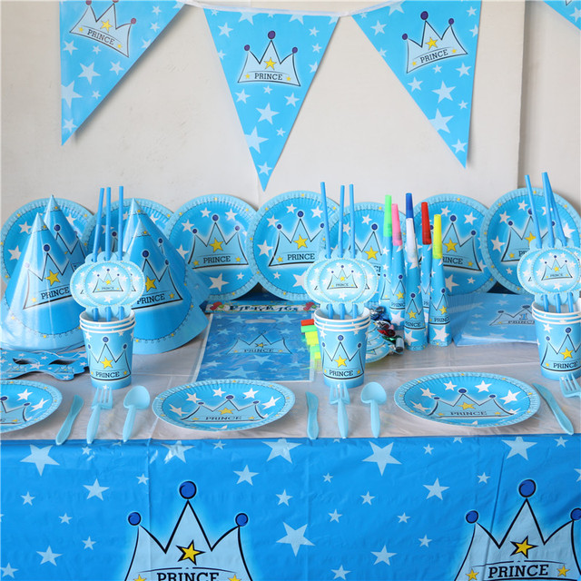 6 kids blue crown boy baby shower party decorative luxury92pcs kids