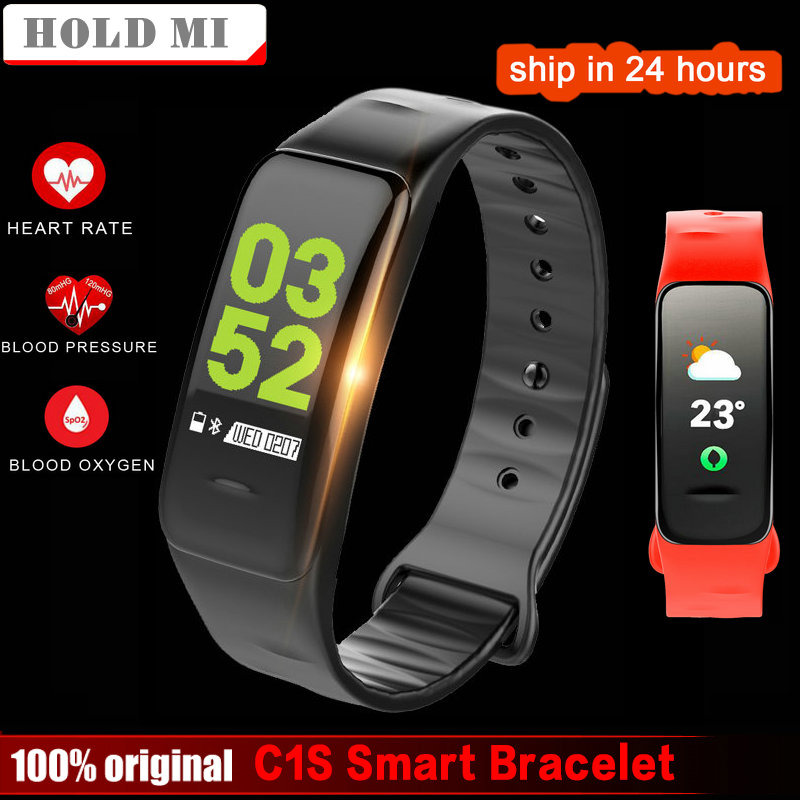 2018 New Smart bracelet C1s Color screen Waterproof wristband heart rate monitor Blood pressure measurement Fitness tracker band