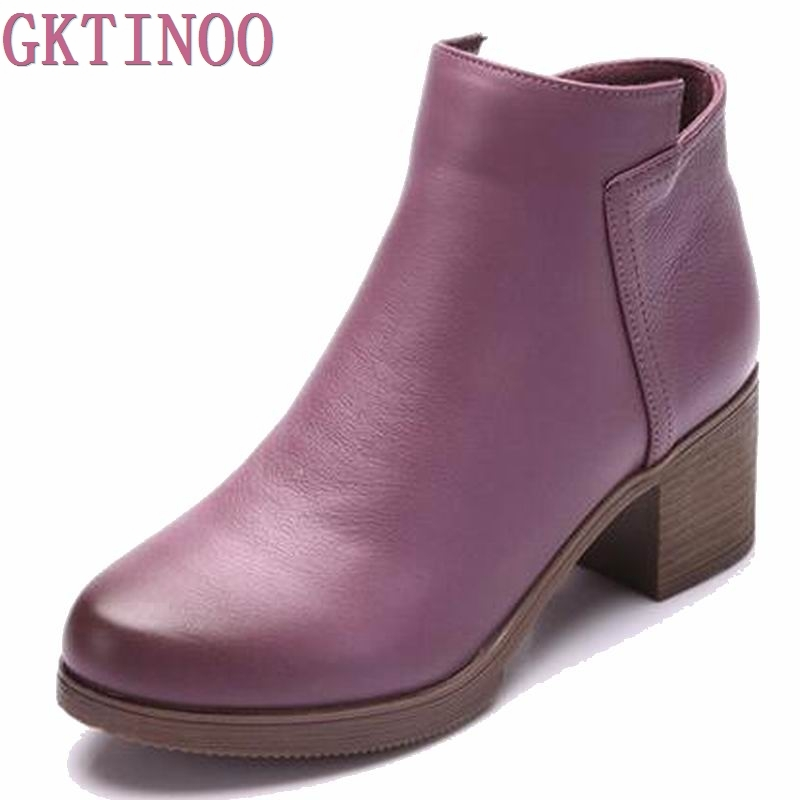 Fashion square toe Zip genuine leather solid nude women ankle boots thick heel brand women shoes