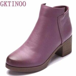 Image 2 - 2020 Mới Giày Bốt Nữ Mùa Thu Giày Cao Gót Nữ Mắt Cá Chân Size 35 40 Mùa Đông Giày Bốt Thời Trang Công Sở Da Thật Chính Hãng Da giày