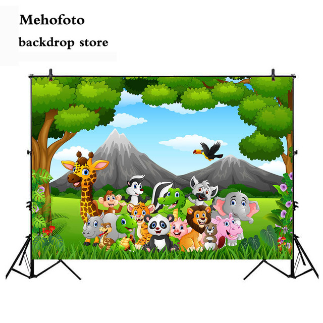 Mehofoto Woodland Happy Birthday Backdrop Safari Zoo